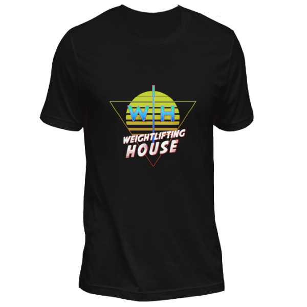 Retro 80s weightlifting t-shirt