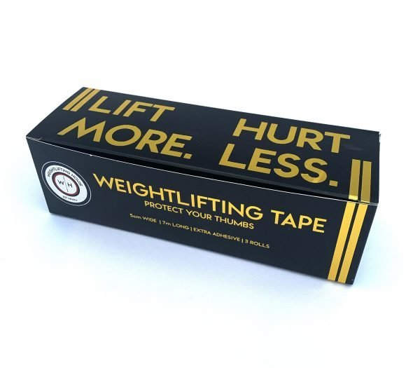 Black and gold weightlifting house thumb tape to protct your thumbs during weightlifting training