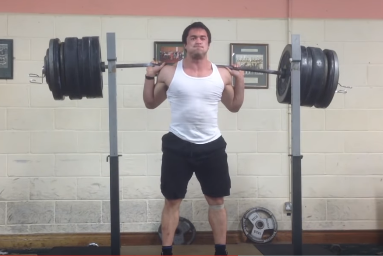 Irish Weightlifter Clarence Kennedy back squats 306kg ATG with a pause without a belt or knee sleeves ATG