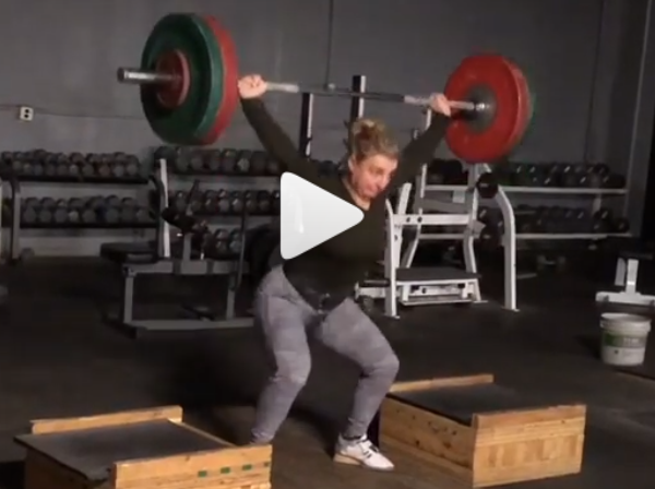 American Record holder in the snatch Kate Nye PRs power snatch and power clean off blocks with 90kg/120kg.