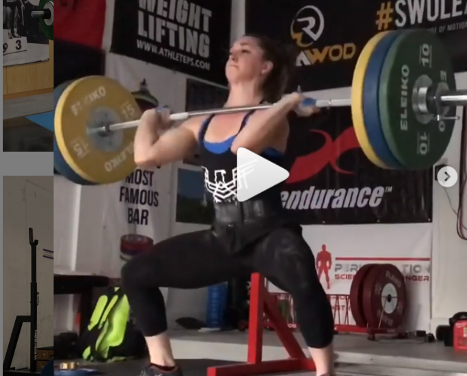 World Weightlifting Championships medalist and American record holder Mattie Rogers (71 kg) hang power cleans 110 kg for a double.