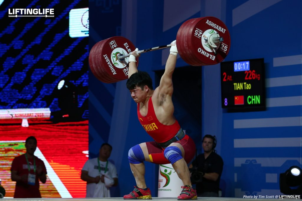 Tian Tao clean and jerking 226 kg at the 2018 Weightlifting World Championships