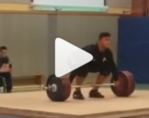 17 year old weightlifter Enzo Kuworge snatches a personal best 166 kg and back squats a personal best of 300 kg.