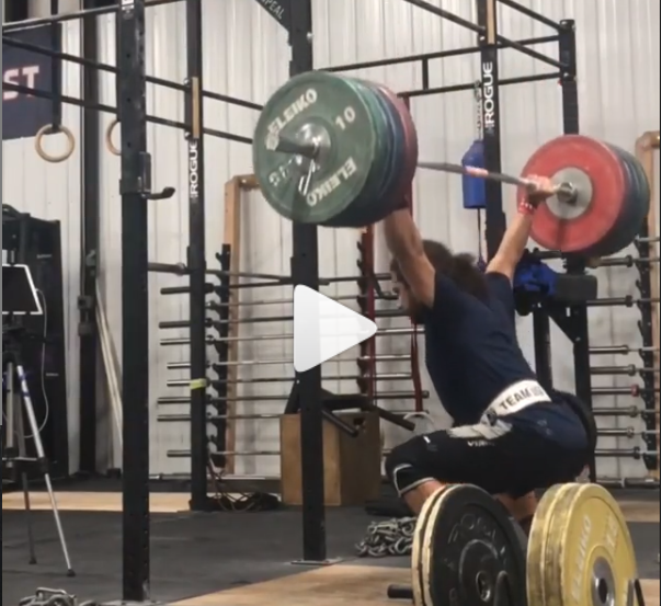 Youth world record holder and senior American record holder Harrison Maurus snatch balances 190 kg as an 81 kg lifter.