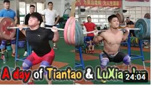Chinese Weightlifters Lu Xiaojun and Tian Tao squat to maximum in training