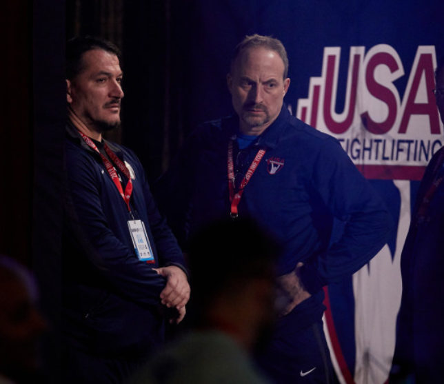 Pyrros Dimas and Mike Gatone talk at the University & U25 National Championships