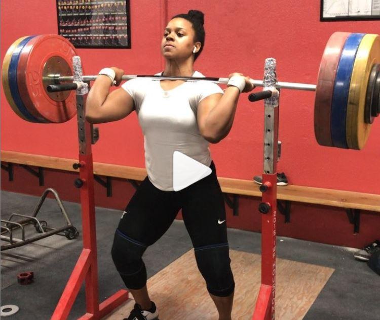 Jenny Arthur Olympian front squats personal record (PR) 157 kg