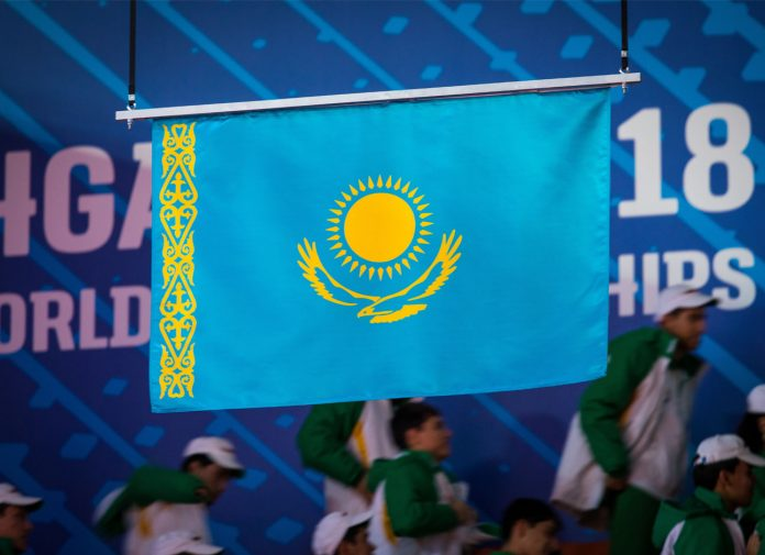 Flag of Kazakhstan at the 2018 World Weghtlifting Championships