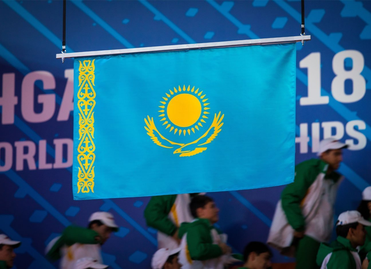 Flag of Kazakhstan at the 2018 World Weghtlifting Championships