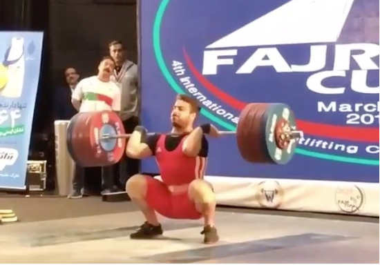 Iranian Olympic Champion Kianoush Rostami snatches 172 kg and clean and jerks 220 kg at Fajr Cup