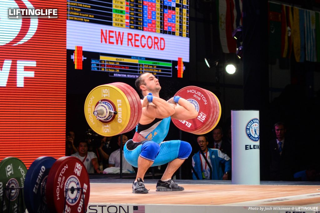 Kazakhstan weightlifter Nijat Rahimov attempts a world record clean and jerk of 211 kg at the 2015 Weightlifting World Championships