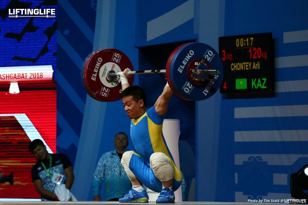 Kazakhstan weightlifter Arli Chontey snatching 120 kg at the 2018 Weightlifting World Championships