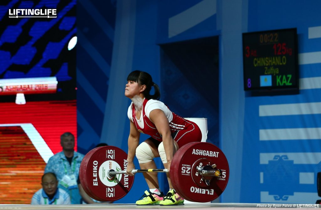 Kazakhstan weightlifter Zulfiya Chinshanlo atepting a 125 kg clean and jerk at the 2018 weightlifting world championships