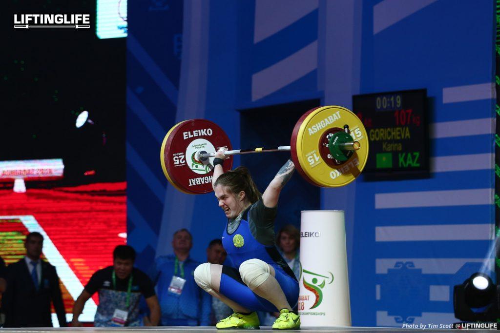 Kazakhstan weightlifter GORICHEVA Karina snatching 107 kg at the 2018 weightlifting world championships