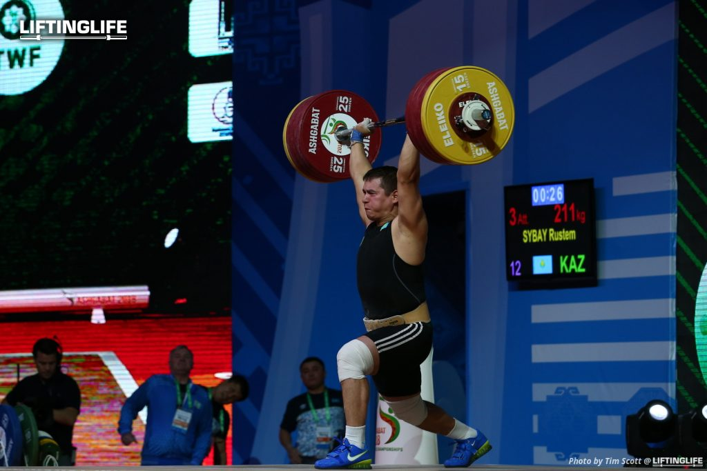 Kazakhstan weightlifter Rustem Sybayclean and jerking 211 kg at the 2018 Weightlifting World Championships