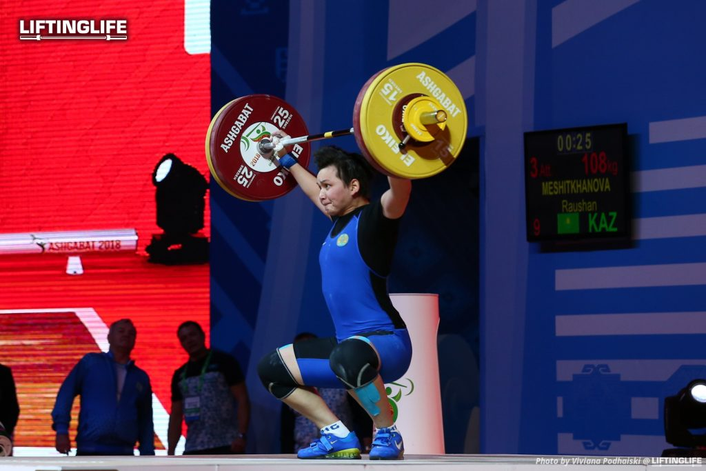 Kazakhstan weightlifter MESHITKHANOVA Raushan snatching 108 kg at the 2018 Weightlifting World Championships