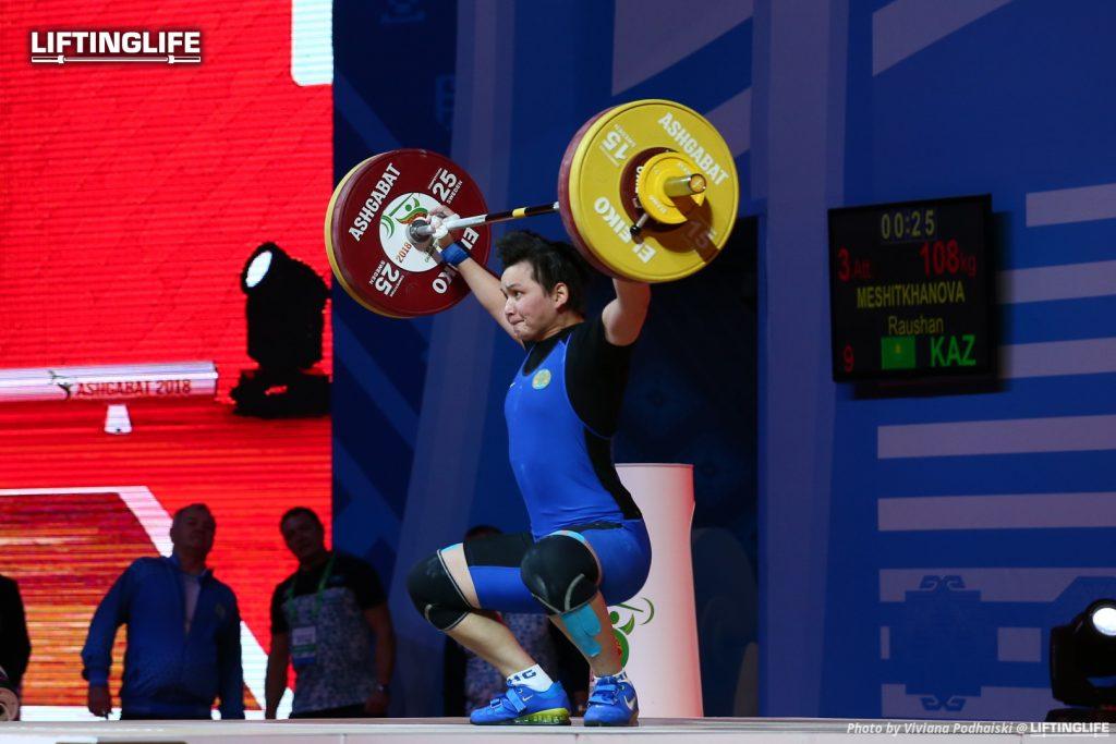Kazakhstan weightlifter MESHITKHANOVA Raushan snatching 108 kg at the 2018 Weightlifting World Championships