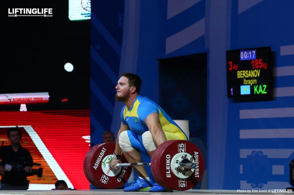 Kazakhstn weightlifter BERSANOV Ibragim attempting a 185 kg snatch at the 2018 weightlifting world championships