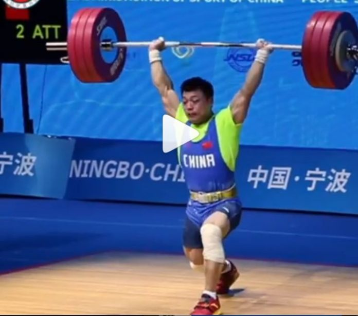 Chinese weightlifter Chen Lijun sets new world records in the snatch and clean and jerk at the 2019 Asian Weightlifting Championships