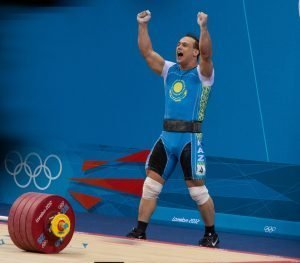 Ilya Ilyin celebrating after a world record 233 kg clean and jerk at the 2012 Olympics