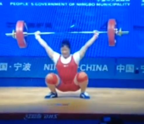 North Korean weightlifter Rim Jong Sim snatches a new world record 123 kg