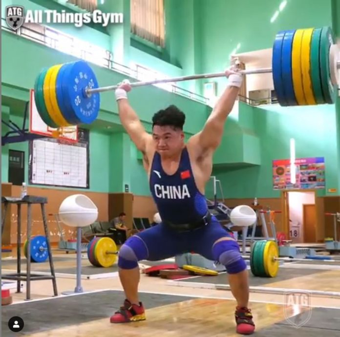 Tian Tao 210 kg clean and jerk at the 2019 Asian Weightlifting Championships