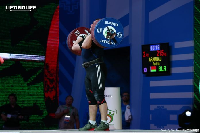 Belarus weightlifter Andrei Aramnau clean and jerking at the 2018 World Championships