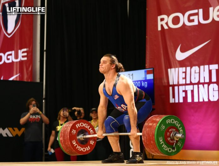 Nathan Damron clean and jerking 200 kg at the 2019 USAW national championships