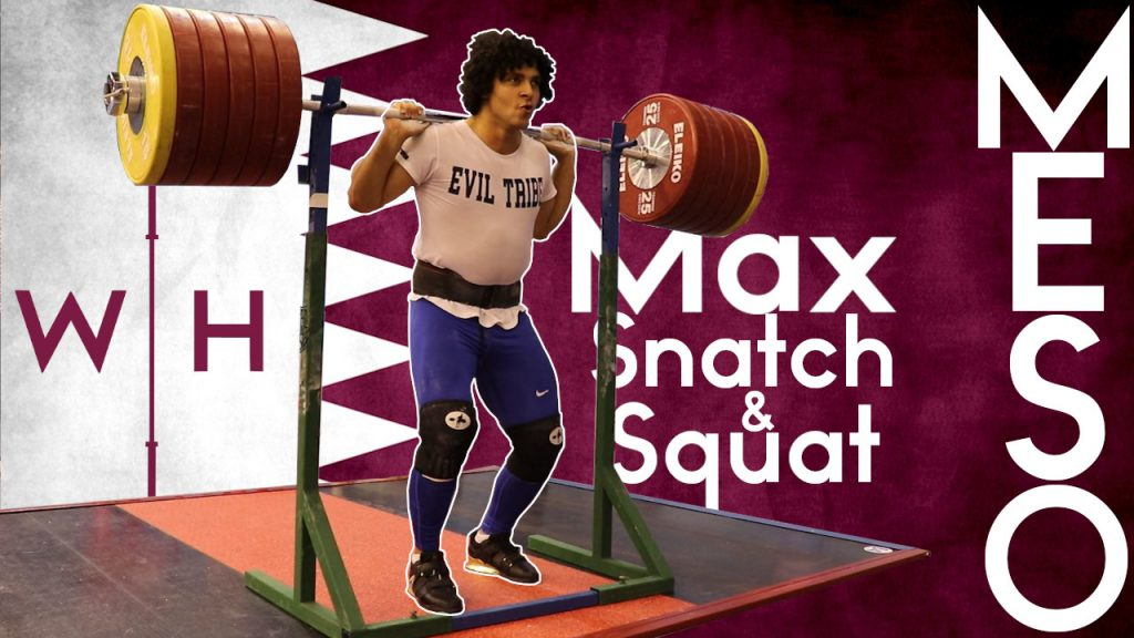 Meso Hassona training, max back squat and snatch