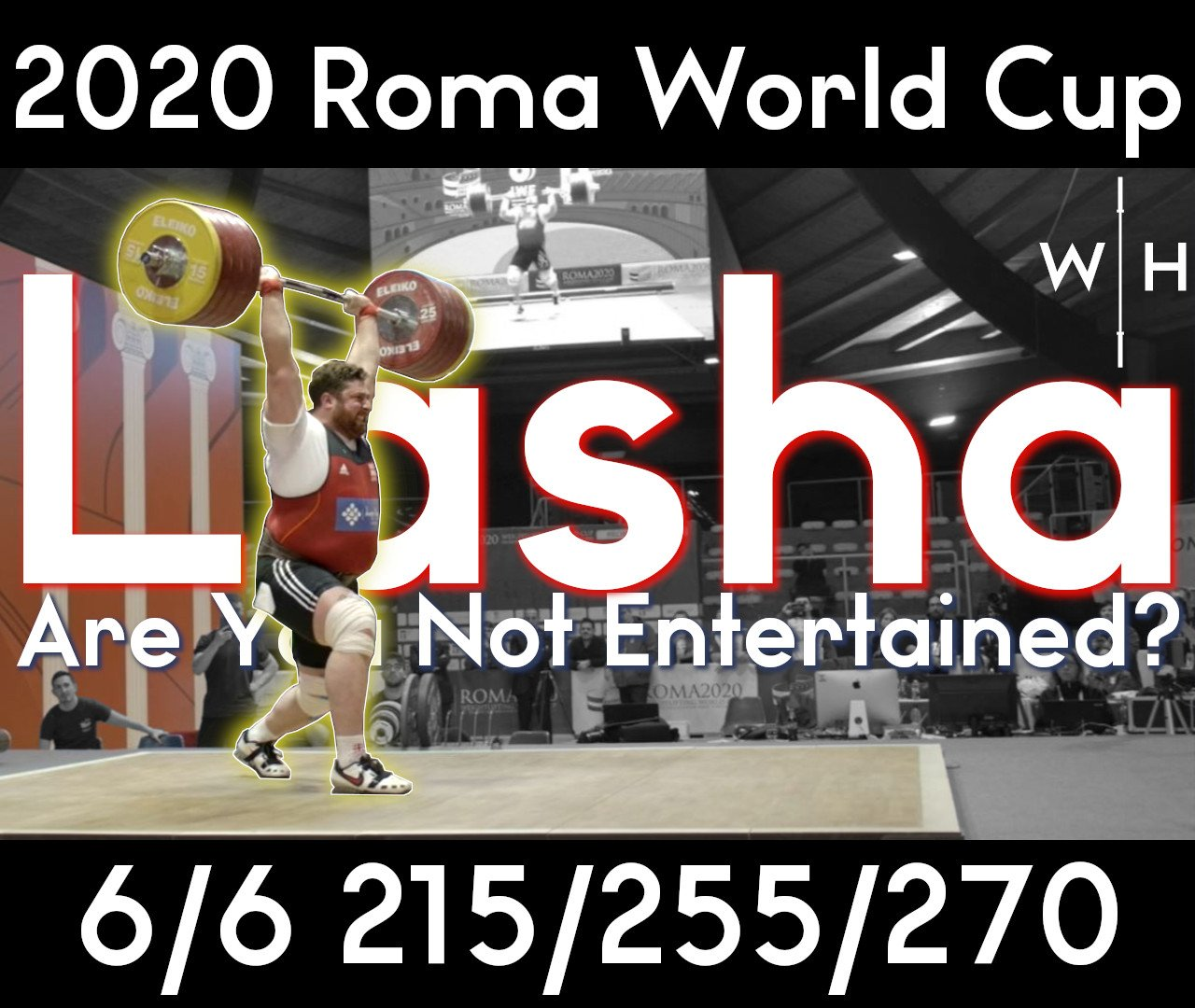 Lasha Talakhadze, the strongest man on earth, 215 snatch 255 clean and jerk in Rome 2020