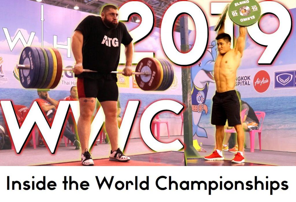 Lasha Talakhadze and Lu Xiaojun at the 2019 World Championships training hall