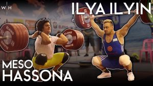 Meso Hassona clean and jerks 220kg in training, and Ilya Ilyin front squats and snatches